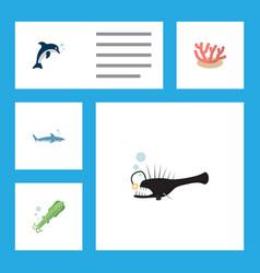 Flat icon sea set of algae fish playful fish and vector