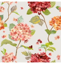 Floral Hortensia Background - Seamless Pattern vector image