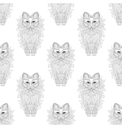 Fluffy Cat seamless pattern zentangle style vector