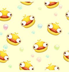 Funny seamless pattern with crazy yellow duck vector