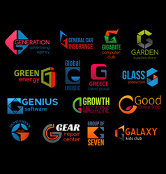 G creative colorful icons corporate identity vector