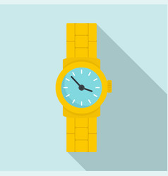 Gold watch icon flat style vector