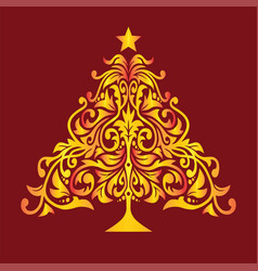 golden christmas tree new year invitation card vector image