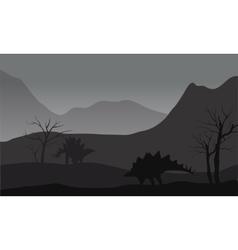 Gray silhouette of stegosaurus vector