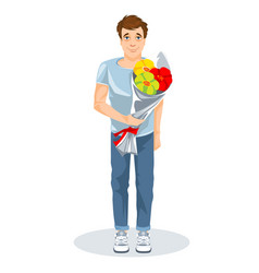 guy with a bunch flowers cartoon image vector image