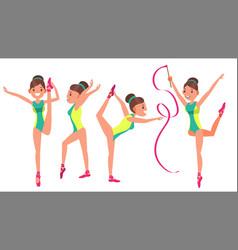 Gymnastics girl player female exercise vector