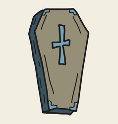 hand drawn halloween icon with a textured coffin vector image