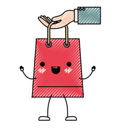 hand holding a trapezoid kawaii animated shopping vector image