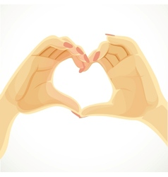 Heart folded from beautiful female hands isolated vector