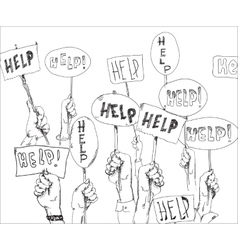 Help Signs In Hands vector image