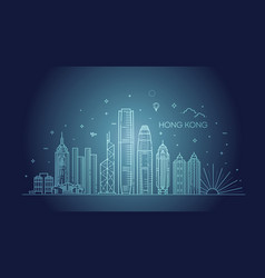 hong kong skyline in linear vector image