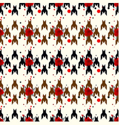 hounds-tooth seamless patternwit red flower vector image