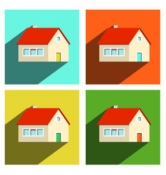 house flat icons set isolated on white background vector image