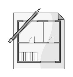 House planrealtor single icon in monochrome style vector