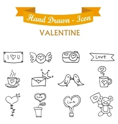 Icon valentine day with hand draw vector