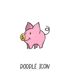 icon with doodle piggy bank vector image