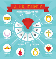 Jewelry infographic concept flat style vector