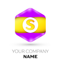 Letter s logo symbol in colorful hexagonal vector