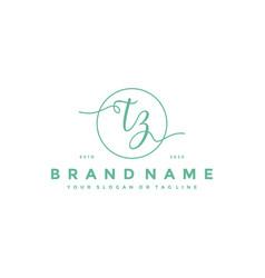 Letter tz feminine logo design vector