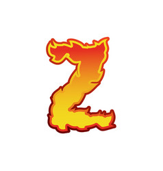 letter z fire flames font lettering tattoo vector image vector image
