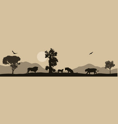 Lions silhouette on african savannah landscape vector