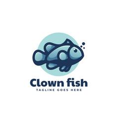 Logo clown fish simple mascot style vector