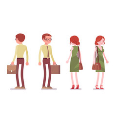 Male and female clerk standing vector