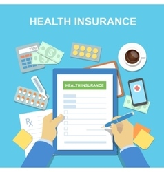 Man at the table fills in form of health insurance vector
