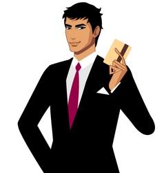 Man holding credit card vector