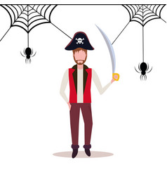 Man wearing pirate costume holding sword spider vector