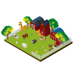 many animals on the farm in 3d design vector image