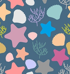 Marine seamless pattern colored silhouettes of vector