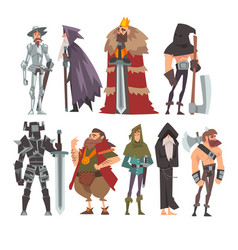 Medieval historical cartoon characters in vector