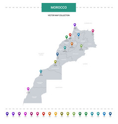 Morocco map with location pointer marks vector