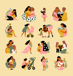 mother day icon set vector image