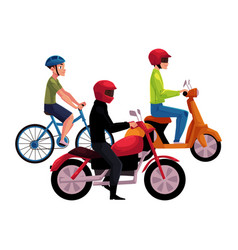 Motorcycle scooter and bicycle drivers riders vector