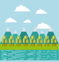 Mountain ridge with forest and water image vector