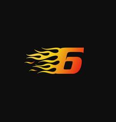 Number 6 burning flame logo design template vector