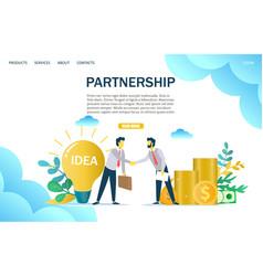 partnership website landing page design vector image