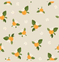 pattern with orange mandarin vector image