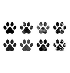 paw prints set hand drawn sketch vector image
