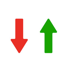 red and green arrows icon vector image