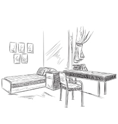 Room interior sketch Bedroom with workplace vector image