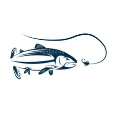 salmon and lure design template vector image vector image