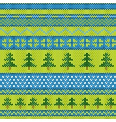 Seamless knitted pattern with fir vector image