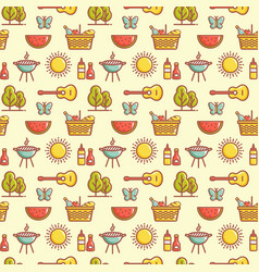 seamless picnic pattern summer outdoor recreation vector image
