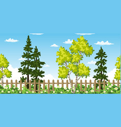 seamless summer landscape with trees vector image