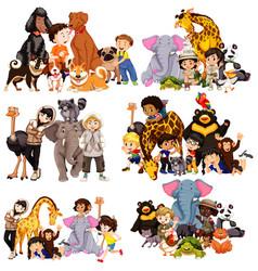 Set animal and children vector
