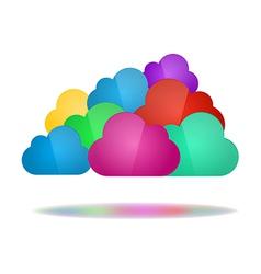 set color clouds - cloud computing concept vector image