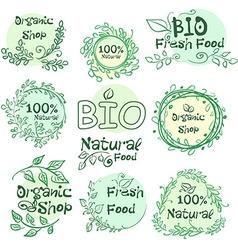 Set of logotypes elements hand-drawn bio organic vector image